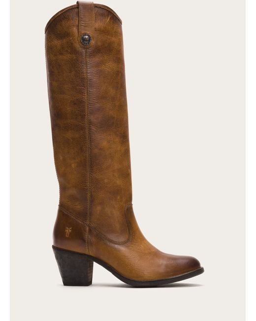 Frye | Brown Jackie Button Wide Calf Women Round Toe Leather Tan Knee High Boot | Lyst
