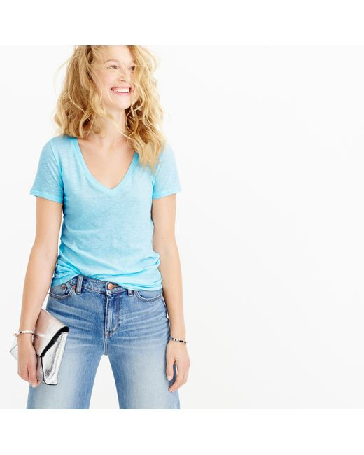 J.Crew | Blue Vintage Cotton V-neck T-shirt | Lyst