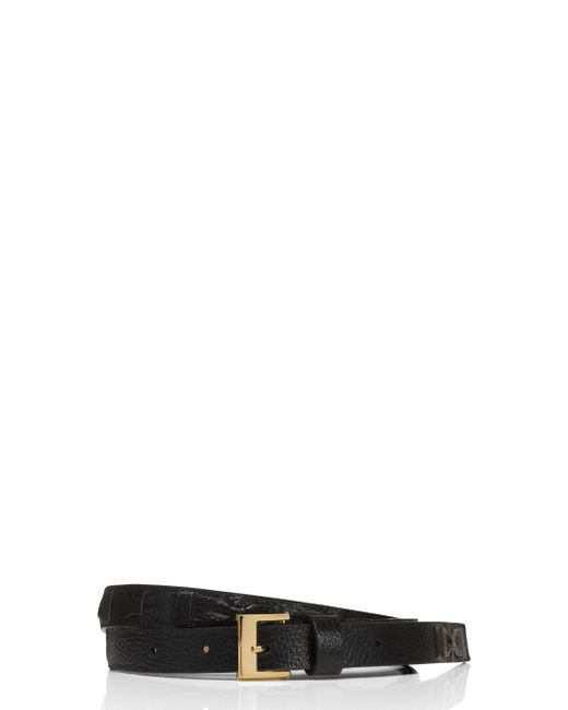 kate spade new york | Black Leather Woven Bow Belt | Lyst