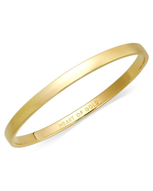 kate spade new york | Metallic 12k Gold-plated Heart Of Gold Idiom Bangle Bracelet | Lyst