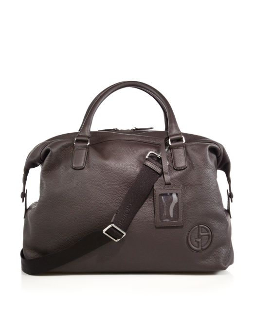 Giorgio Armani | Brown Leather Holdall for Men | Lyst