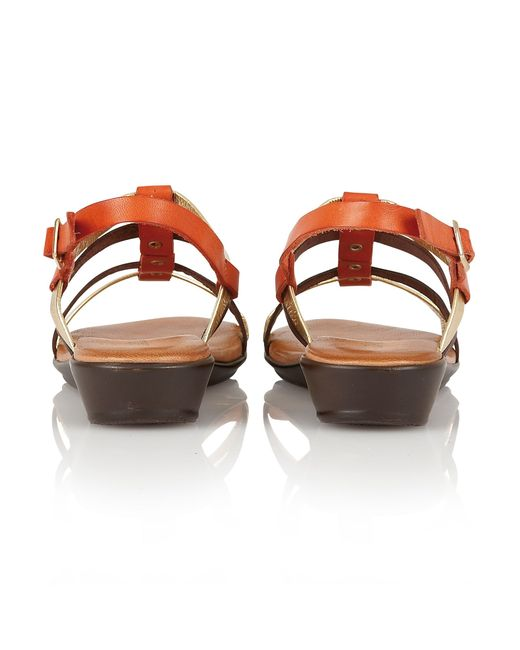 Lotus | Orange Lucca Open Toe Sandals | Lyst