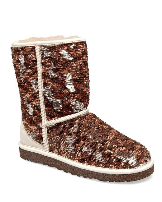 Ugg Classic Short Sparkles Sequin Textile And Suede Boot