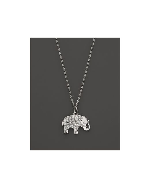 KC Designs | Metallic Diamond Elephant Pendant In 14k White Gold, 16"