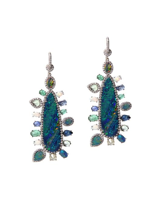 Nina Runsdorf   Metallic Opal Multi-stone Earrings   Lyst