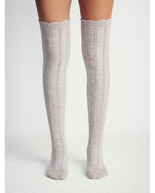 Free People | Natural Fray Ii Pointelle Over The Knee Sock | Lyst