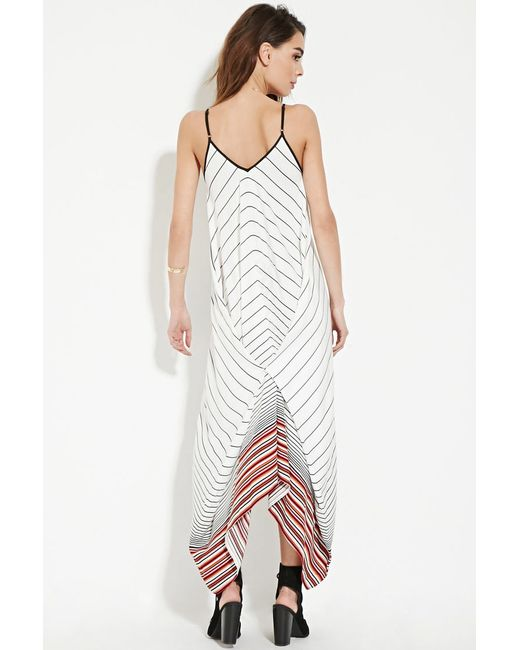 forever 21 contemporary stripe maxi dress in white cream