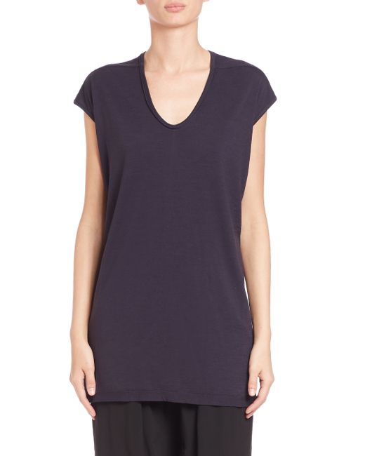 Rick Owens | Blue Floating Wool Jersey Tee | Lyst