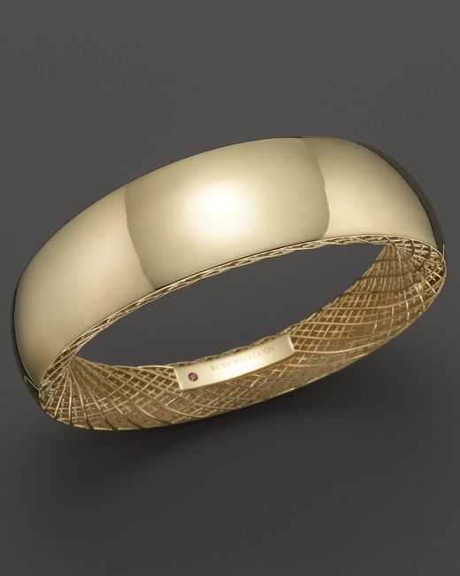 Roberto Coin | Metallic 18k Yellow Gold Golden Gate Wide Bangle | Lyst
