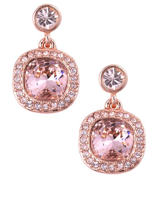 Givenchy | Pink Rose Gold And Vintage Rose Swarovski Crystal Drop Earrings | Lyst