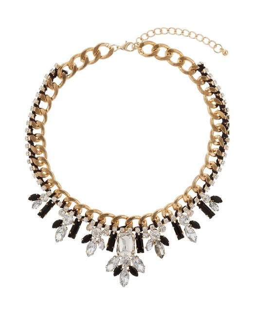 Mikey | White Fillagary Crystal Chain Necklace | Lyst