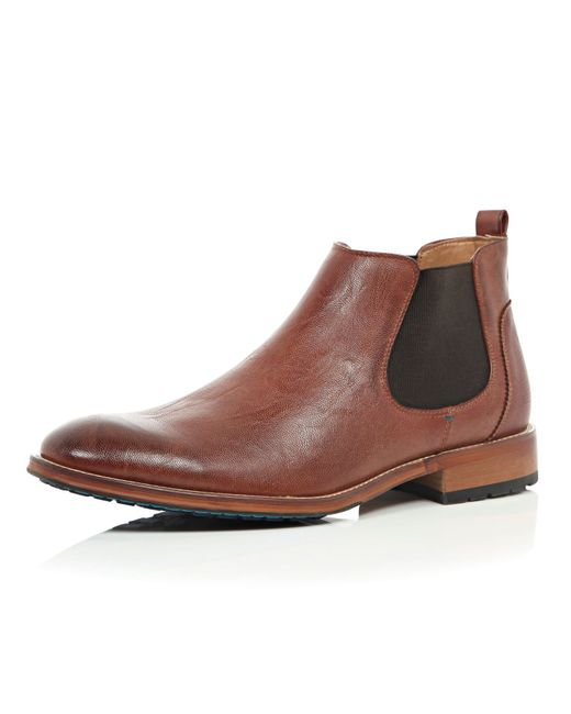 river island brown chelsea boots in brown for save