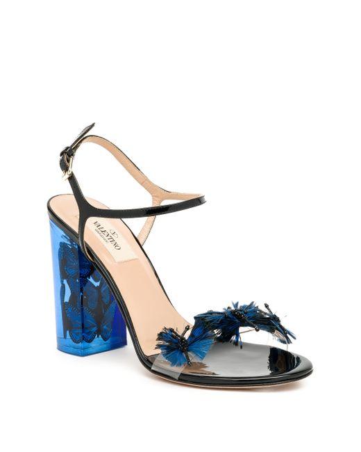 Valentino Butterfly Lucite Heel Sandals In Blue Dark Blue