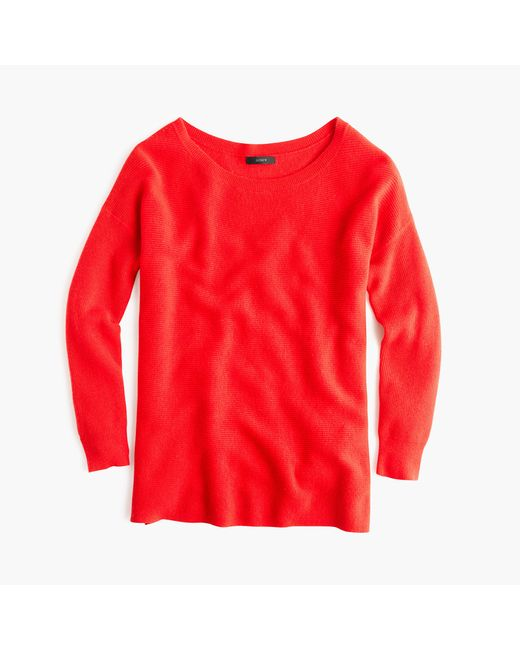 J.Crew | Red Ribbed Boatneck Tunic | Lyst
