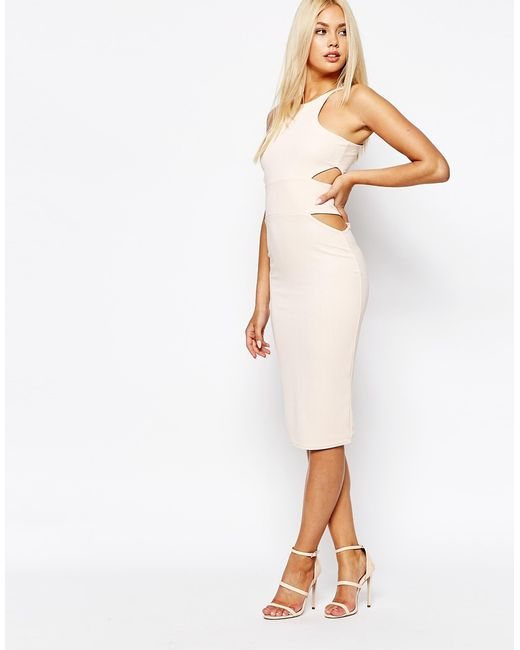 Missguided | Beige Midi Body-conscious Dress With Cut Out Sides | Lyst