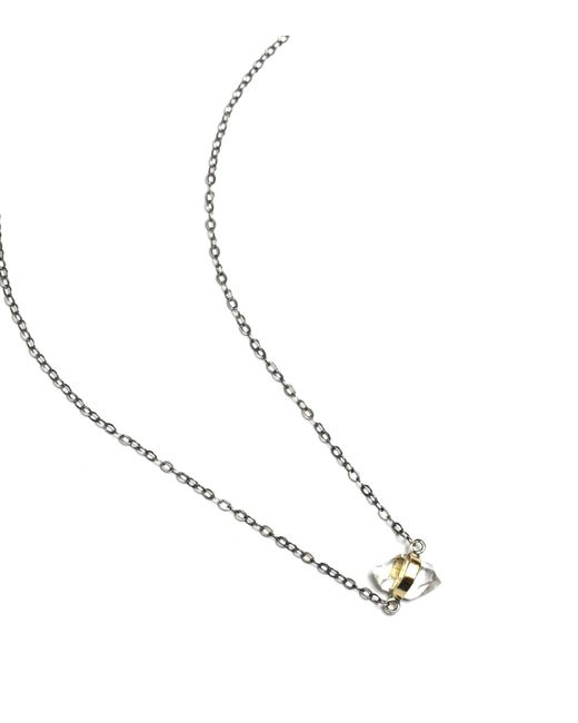 Melissa Joy Manning | Metallic Bezel Wrapped Herkimer Diamond Necklace | Lyst