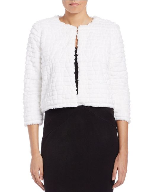 Calvin Klein | White Cropped Faux-fur Jacket | Lyst