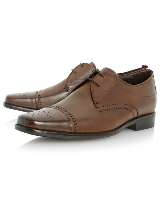 Bertie | Brown Rigby Toecap Leather Brogue Derby Shoes for Men | Lyst