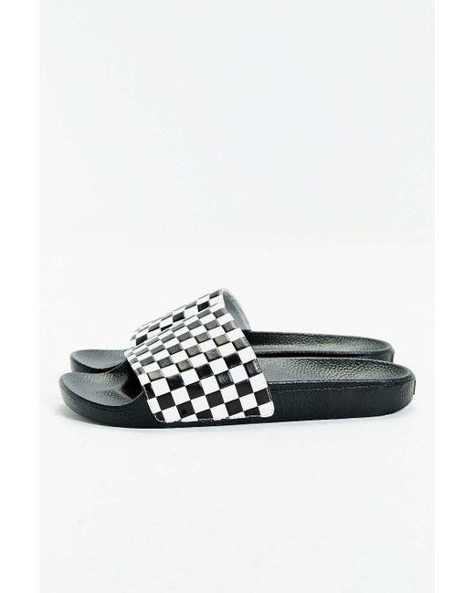 Vans Slide-on Checkerboard Sandal in White for Men (BLACK ...