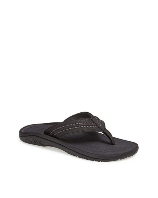 Olukai | Black 'hokua' Flip Flop for Men | Lyst