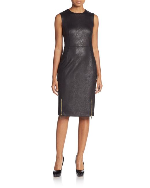 Calvin klein Snake-embossed Faux Leather Sheath Dress in ...