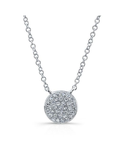 Anne Sisteron | Metallic 14kt White Gold Diamond Rounded Disc Necklace | Lyst