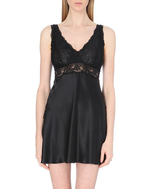 Nk Imode | Black Morgan Silk-satin And Lace Chemise | Lyst