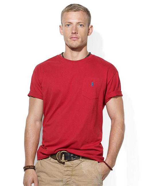 Polo Ralph Lauren   Red Classic-fit Jersey Pocket Crewneck for Men   Lyst