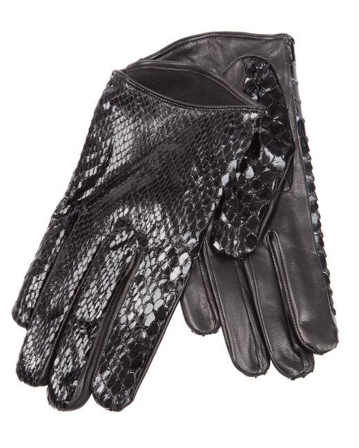 Imoni | Black Snakeskin Print Gloves | Lyst