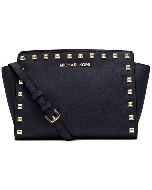 Michael Kors | Blue Michael Selma Stud Medium Messenger | Lyst