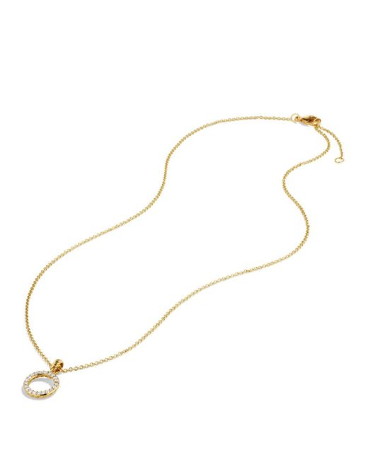 David Yurman | Metallic Cable Collectibles Circle Pendant With Diamond In Gold On Chain | Lyst