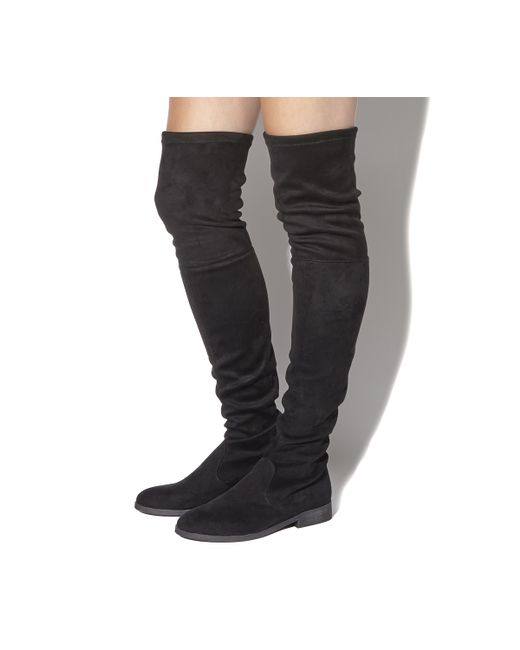 office stretch the knee boots in black lyst