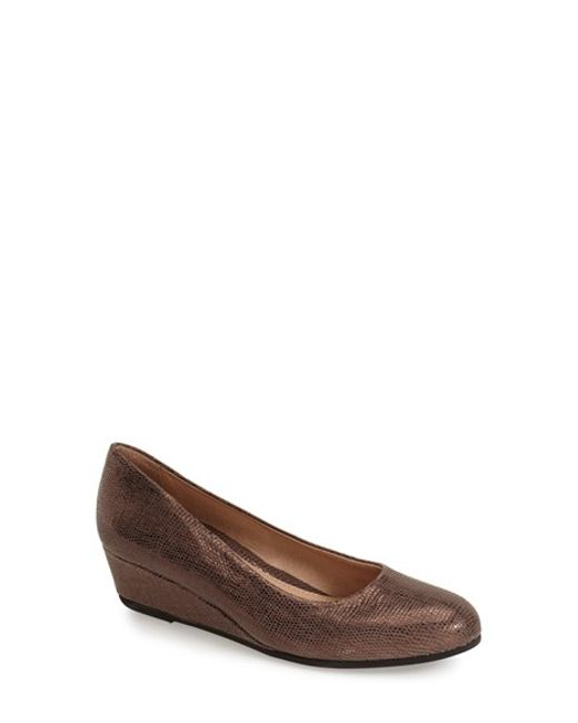 French Sole | Brown Gum Drop Wedge Pumps | Lyst