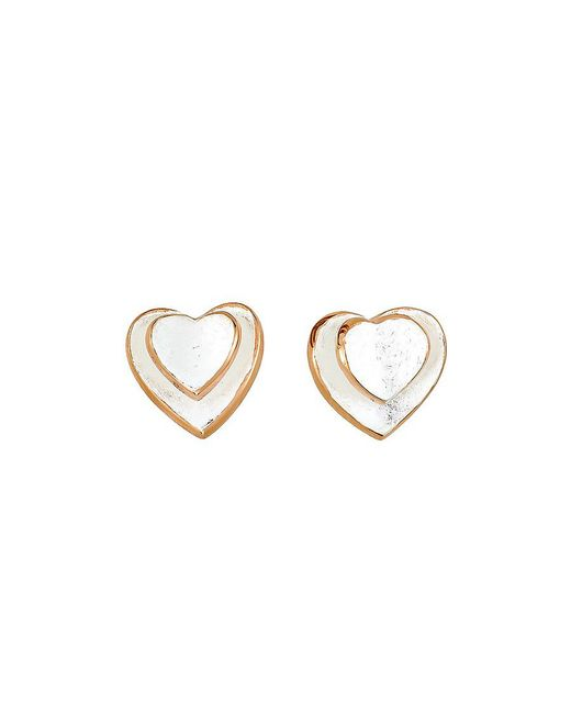 Azendi | Metallic Silver Two Hearts Stud Earrings | Lyst