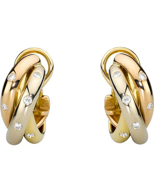 Cartier | Metallic Trinity 18ct Gold And Diamond Earrings | Lyst