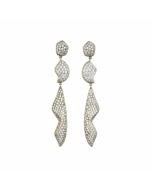 Kara Ross | Metallic Petra Pave Triple Drop Earrings | Lyst