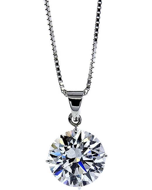 Carat* | White Round 4 Prongs 1ct Solitaire Pendant Necklace | Lyst