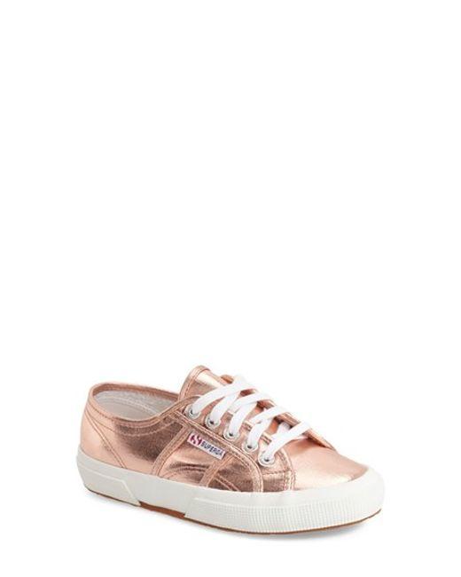 superga cotmetu metallic sneakers in pink rose gold lyst. Black Bedroom Furniture Sets. Home Design Ideas