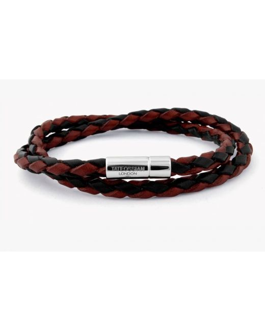 Tateossian | Double Wrap Two-tone Pop Bracelet In Brown And Black Leather With Silver Clasp for Men | Lyst