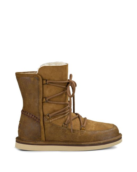 ugg lodge sheepskin lined leather suede lace up boots in brown lyst