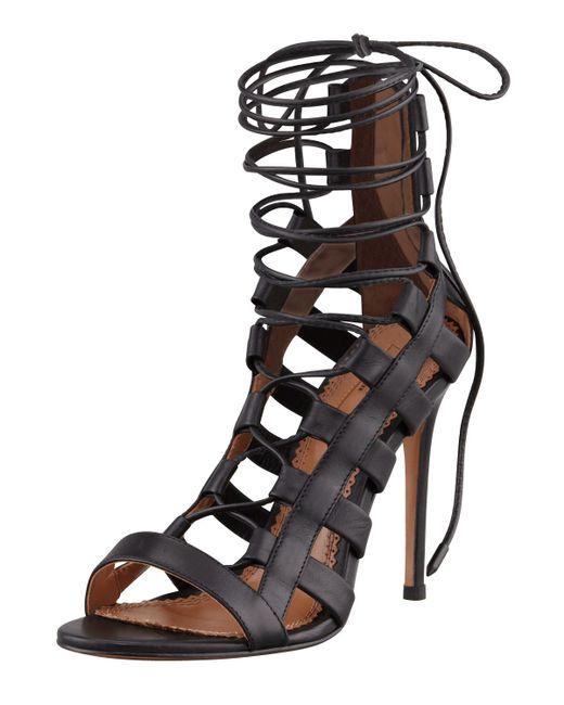 Aquazzura | Black Amazon 105 Lace Up Leather Sandal | Lyst