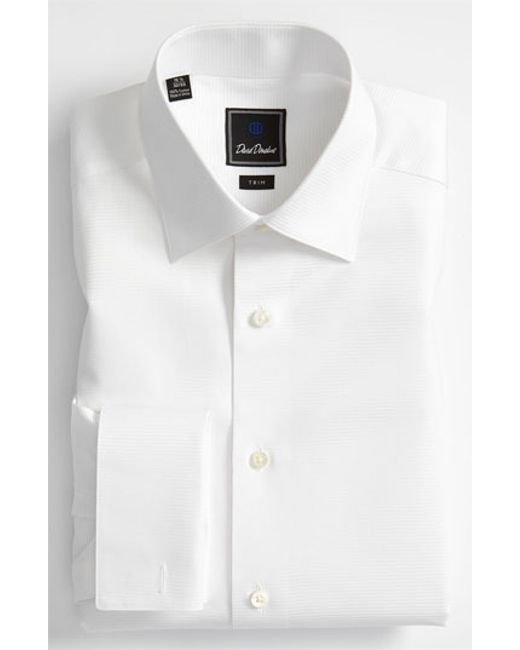 david donahue trim fit twill french cuff tuxedo shirt in