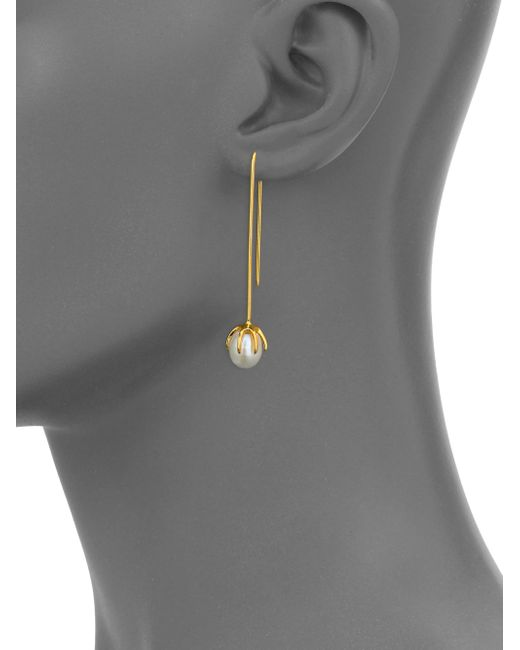 Lizzie Fortunato   Metallic Eclipse 8mm White Pearl Wire Drop Earrings   Lyst