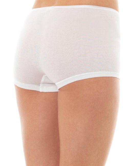 Hanro   White Seamless Cotton Boy-short Briefs   Lyst