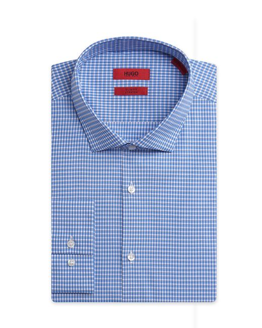 HUGO | Blue 'eastonx' | Slim Fit, Modified Spread Collar Stretch Cotton Dress Shirt for Men | Lyst