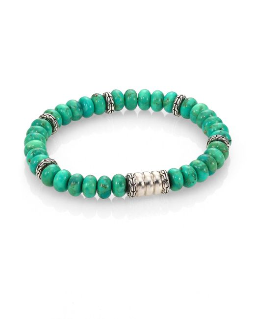 John Hardy | Batu Bedeg Sterling Silver Bracelet/mohave Green Turquoise for Men | Lyst