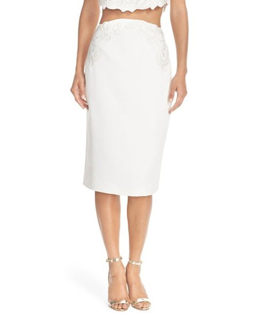 ted baker embroidered pencil skirt in lyst