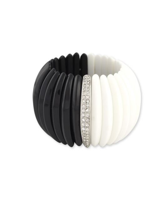 Kenneth Jay Lane | Black And White Bombe' Stretch Cuff | Lyst