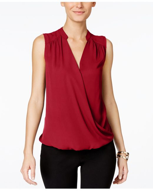 INC International Concepts | Red Sleeveless Surplice Top, Only At Macy's | Lyst