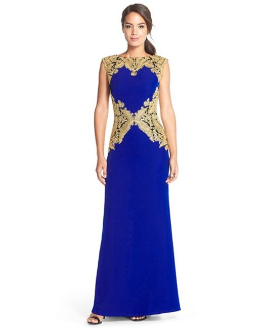 Tadashi Shoji | Blue Embroidered Crepe Gown | Lyst